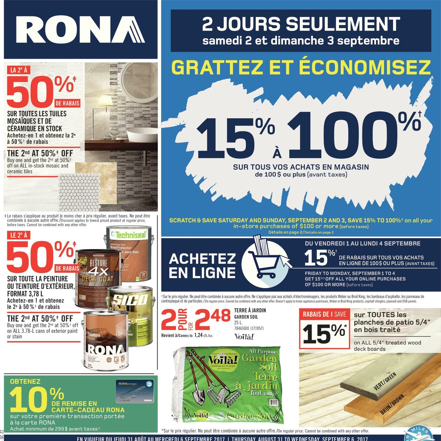 Carte Rona Accord D.Rona Weekly Flyer Weekly Aug 31 Sep 6 Redflagdeals Com