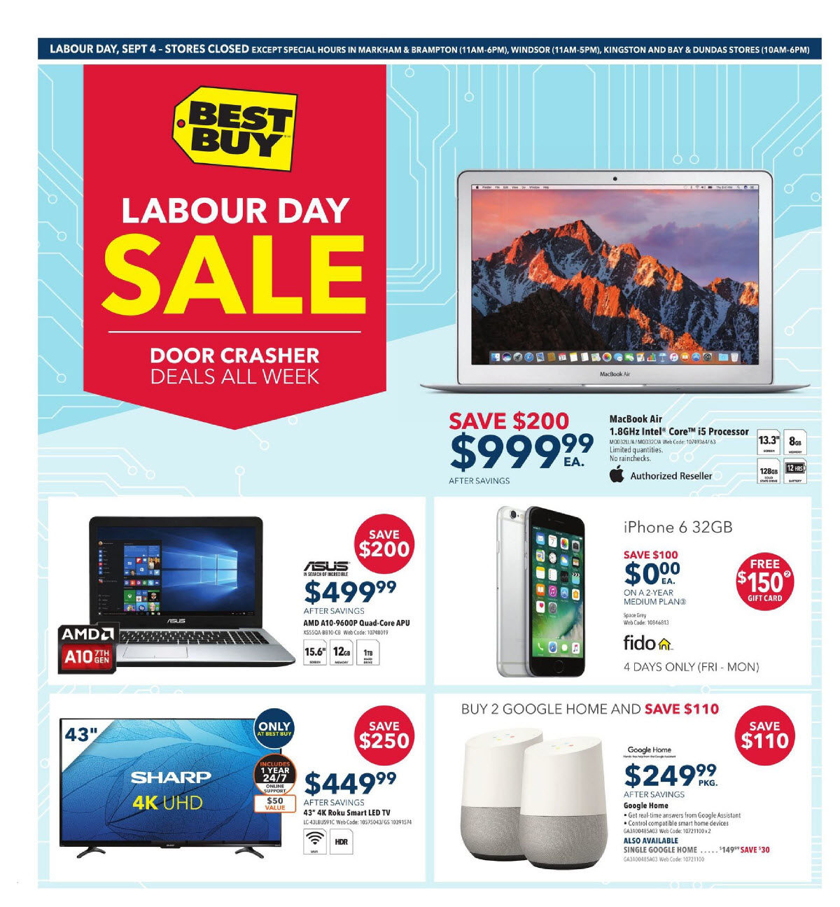 Best Buy Weekly Flyer Labour Day Sale Sep 1 7 G11 Electronics Early Philips Colour Tv