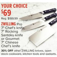 "Zwilling Pro 7"" Chef's Knife, 7"" Rocking Santoku Knife Or Gourmet, 7"" Chinese Chef's Knife"