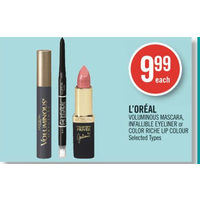 L'Oreal Voluminous Mascara, Infallible Eyeliner Or Color Riche Lip Colour
