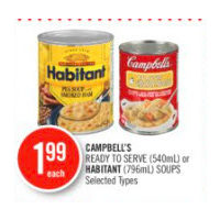 Campbell's Ready To Serve Or Habitant Soups