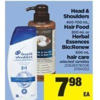 Head & Shoulders Hair Food or Herbal Essences Bio: Renew Hair Care