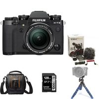 Fujifilm X-T3 Mirrorless Camera Body With XF 18-55mm Lens Kit, Compact Bag, Mini Tripod, Rode Compact In-Camera Microphone And 128GB Memory Card