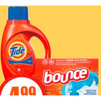 Bounce Sheets, Downy Fabric Softener or Tide Laundry Detergent
