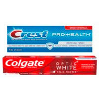 Crest Pro-Health, Colgate Optic White Stain Fighter or Total Toothpaste