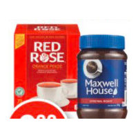 Red Rose Tea, Folgers or Maxwell House Instant Coffee