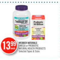 Webber Naturals Omega Or Probiotic Natural Health Products