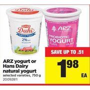 Arz Yogurt Or Hans Dairy Natural Yogurt - $1.98 (Up to $0.51 off)