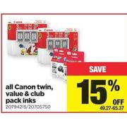 All Canon Twin, Value & Club Pack Inks - $49.27-$65.37 (15% off)