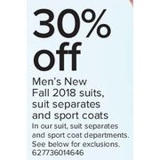 Men's New Fall 2018 Suits, Suit Separates, and Sport Coats - 30% off