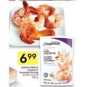 Compliments Cooked or Uncooked Shrimp - $6.99