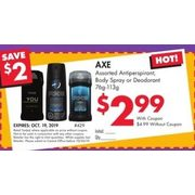 Axe Antiperspirant, Body Spray or Deodorant - $2.99/with coupon ($2.00 off)