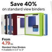 Standard View Binders  - From $4.79 (40% off)