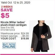 Nicole Miller Ladies Plush-Lined Cardigan - $19.99 ($5.00 off)