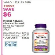Webber Naturals Advanced Turmeric - $21.99 ($6.00 off)