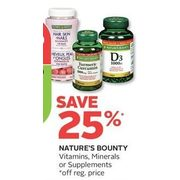 Nature's Bounty Vitamins, Minerals Or Supplements - 25% off
